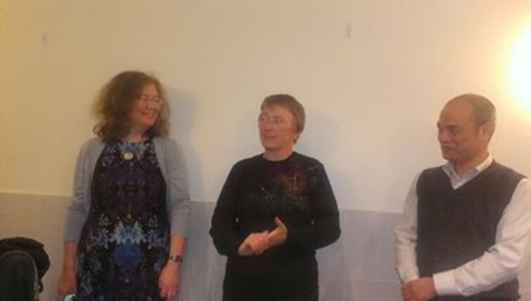 Tracey Bourner (centre) receiving the Wong Doo Award 2014