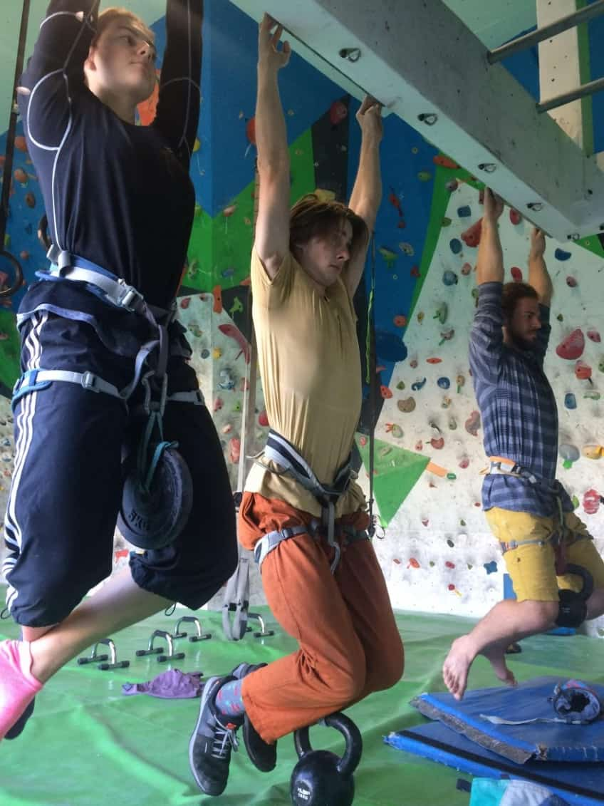 Rock climbers at Rocktopia
